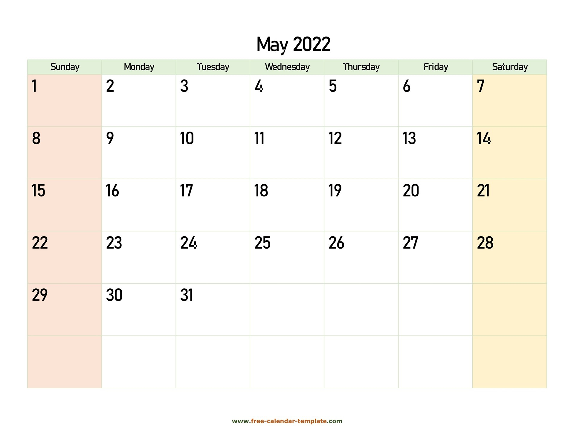 May 2022 Calendar Printable With Coloring On Weekend with regard to Printable Calendar May 2022