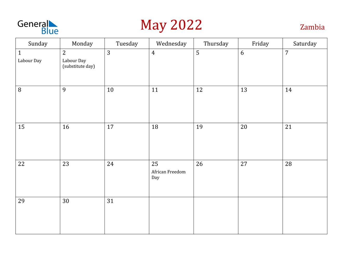 May 2022 Calendar - Zambia regarding March April May 2022 Calendar Printable Graphics