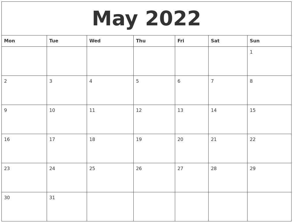 May 2022 Free Calendar Printables throughout May 2022 Calendar Template