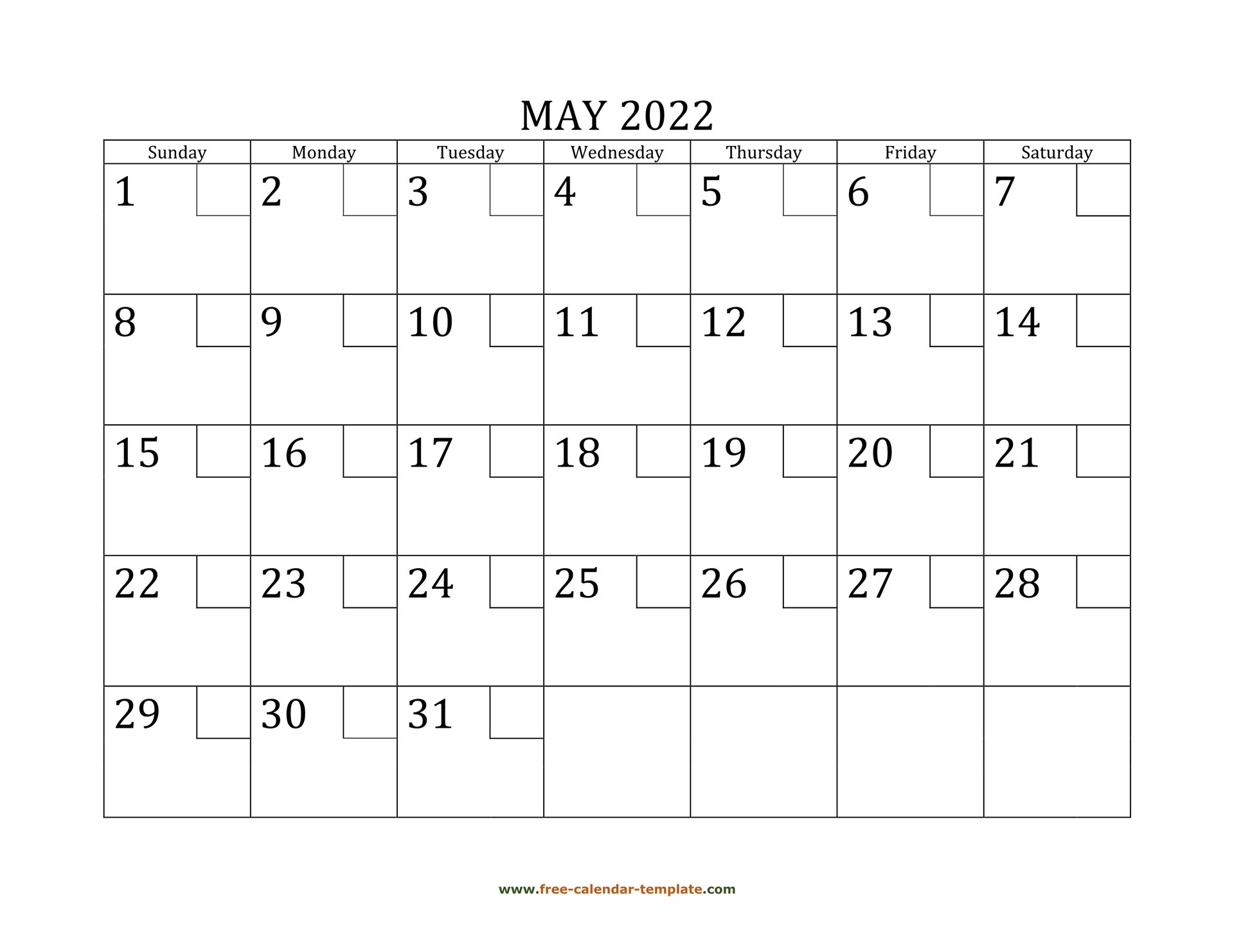 May 2022 Free Calendar Tempplate   Free-Calendar-Template pertaining to Printable Mayl 2022 Calendar
