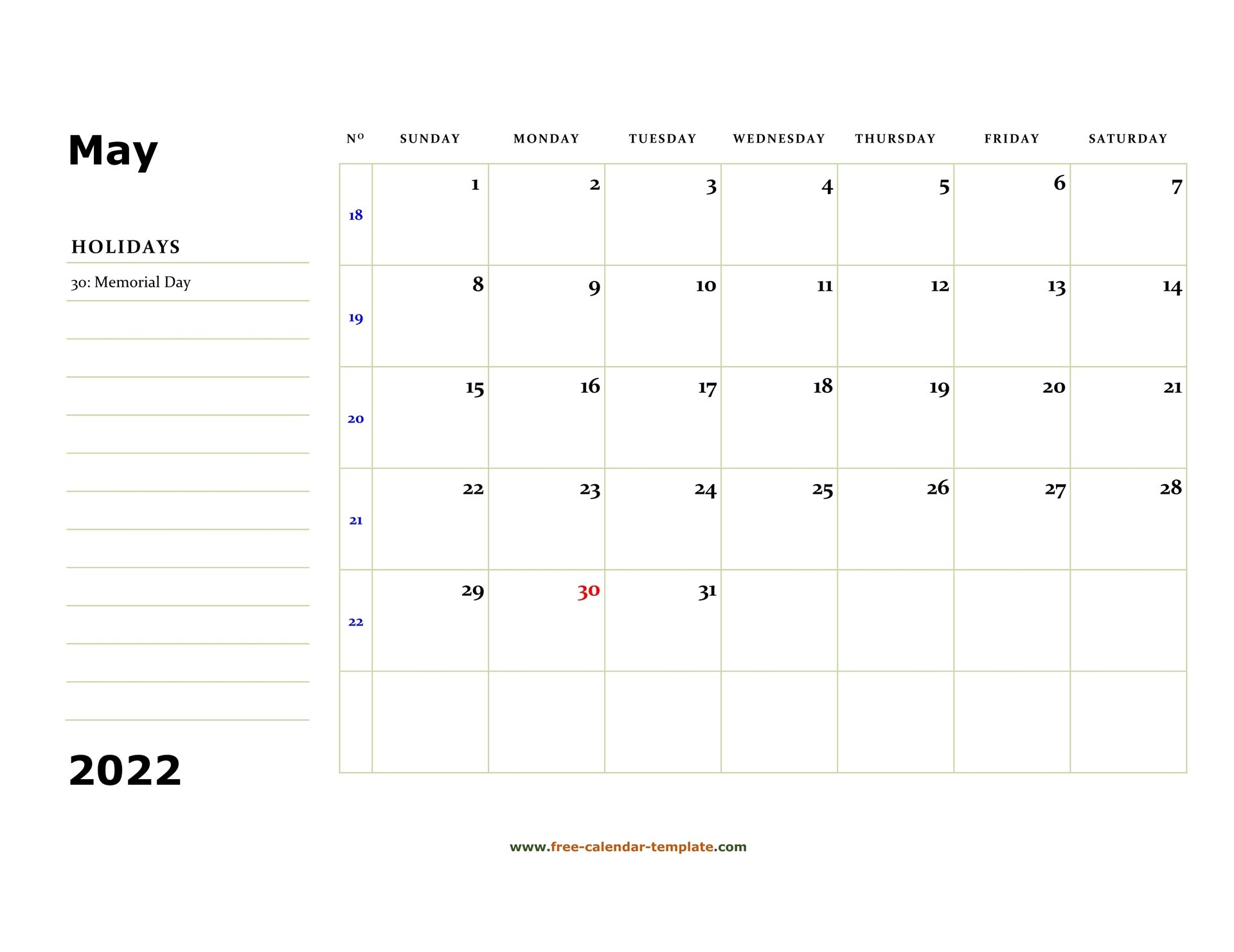 May 2022 Free Calendar Tempplate | Free-Calendar-Template throughout May 2022 Calendar Letter Graphics