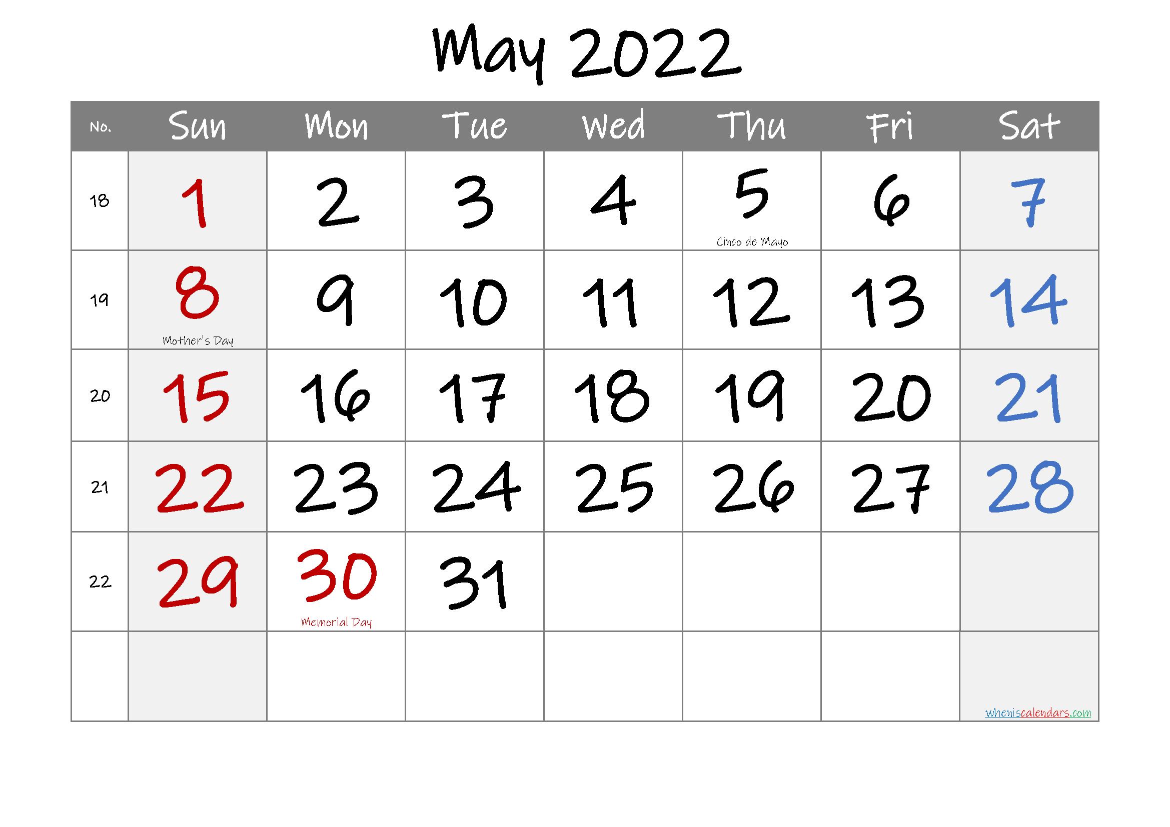 May 2022 Free Printable Calendar With Holidays-Template No inside Printable 2022 August Calendar Photo