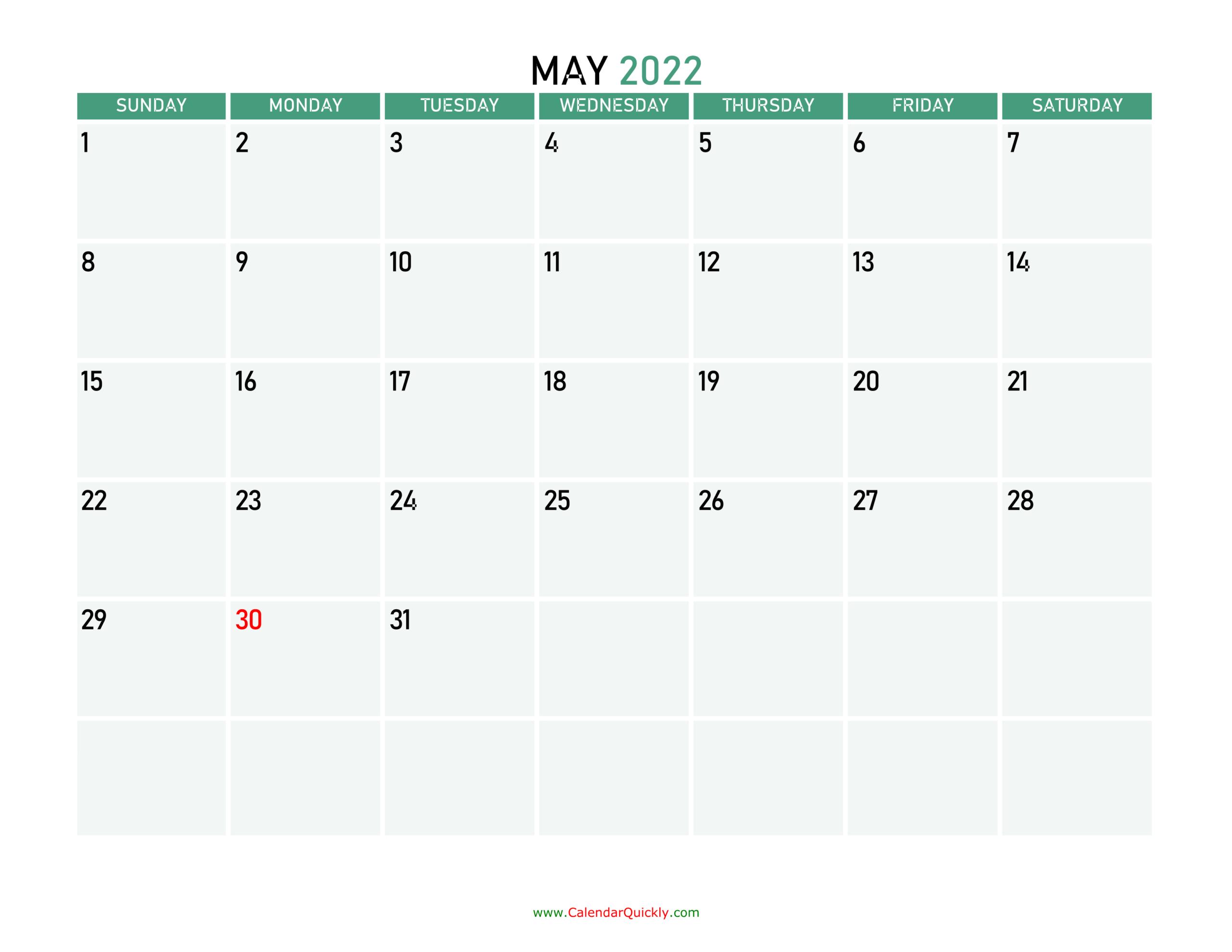 May 2022 Printable Calendar   Calendar Quickly within Printable Mayl 2022 Calendar Image