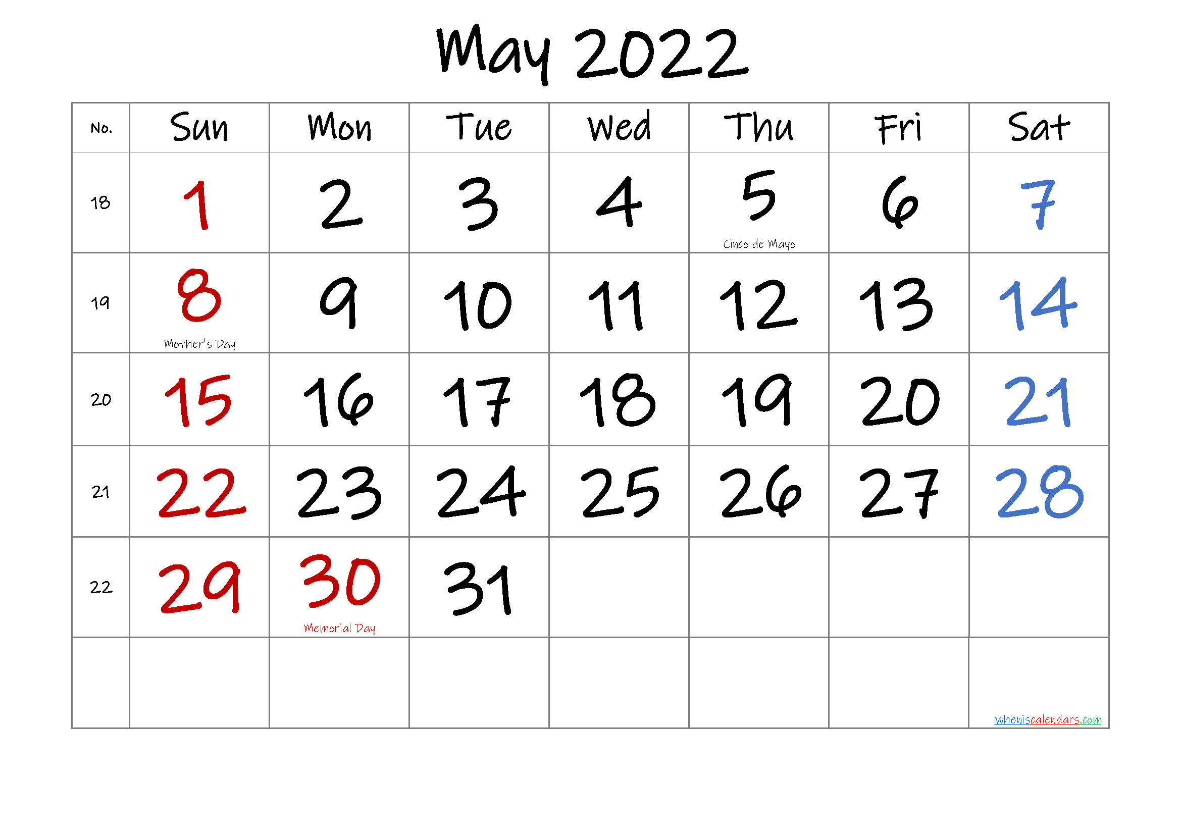 May 2022 Printable Calendar With Holidays   Free Printable regarding Printable Calendar Month May 2022 Graphics