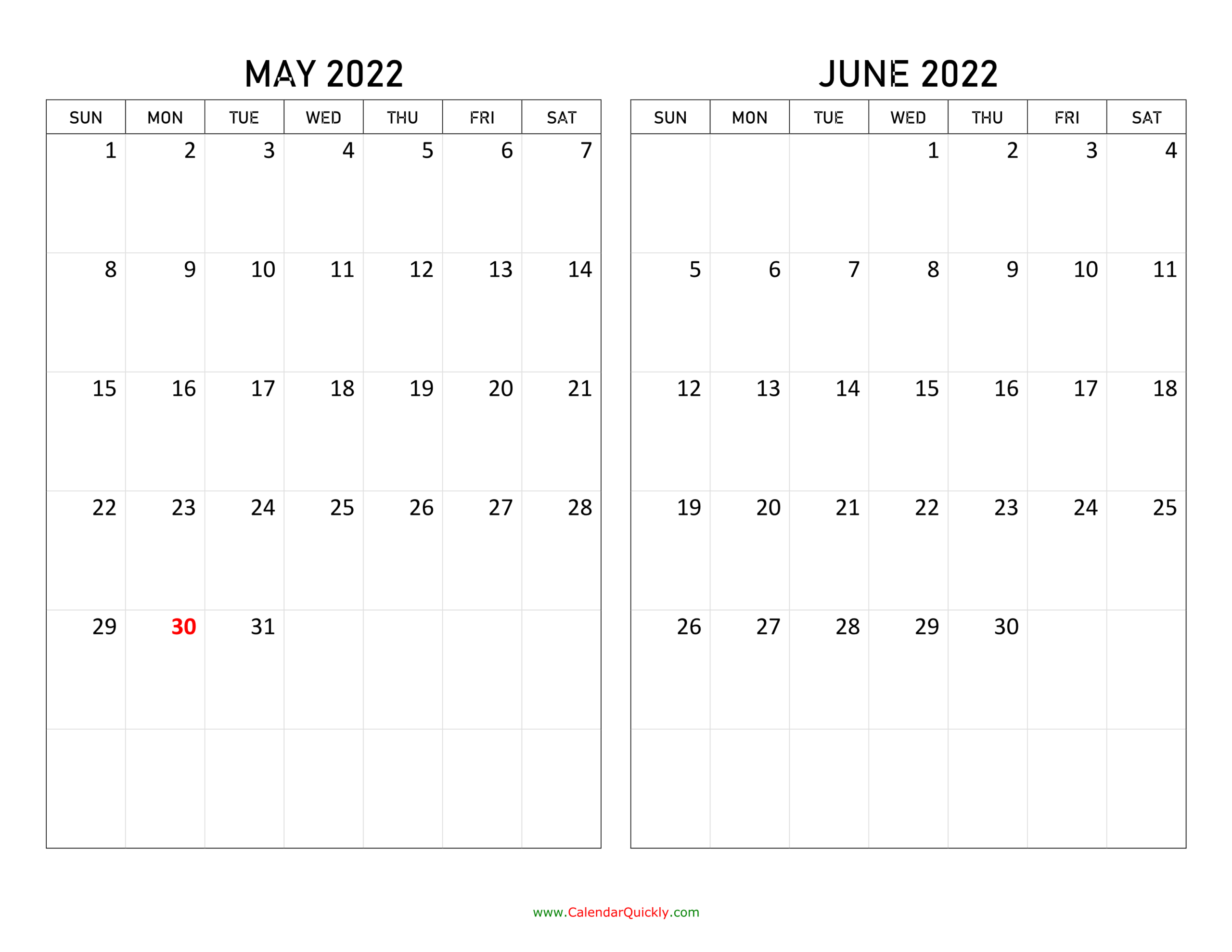 May And June 2022 Calendar | Calendar Quickly intended for May 2022 Calendar Template Image