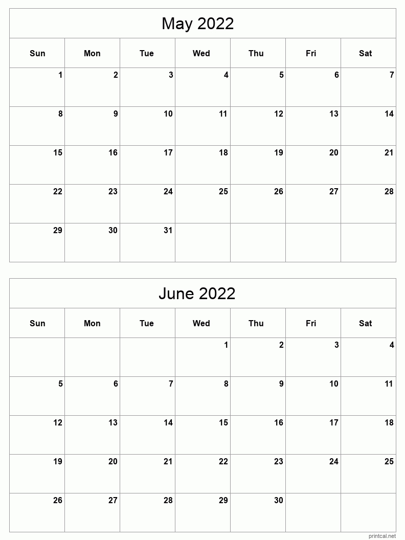 May-Jun 2022 Printable Calendar   Two Months Per Page for Printable Calendar Month May 2022 Graphics