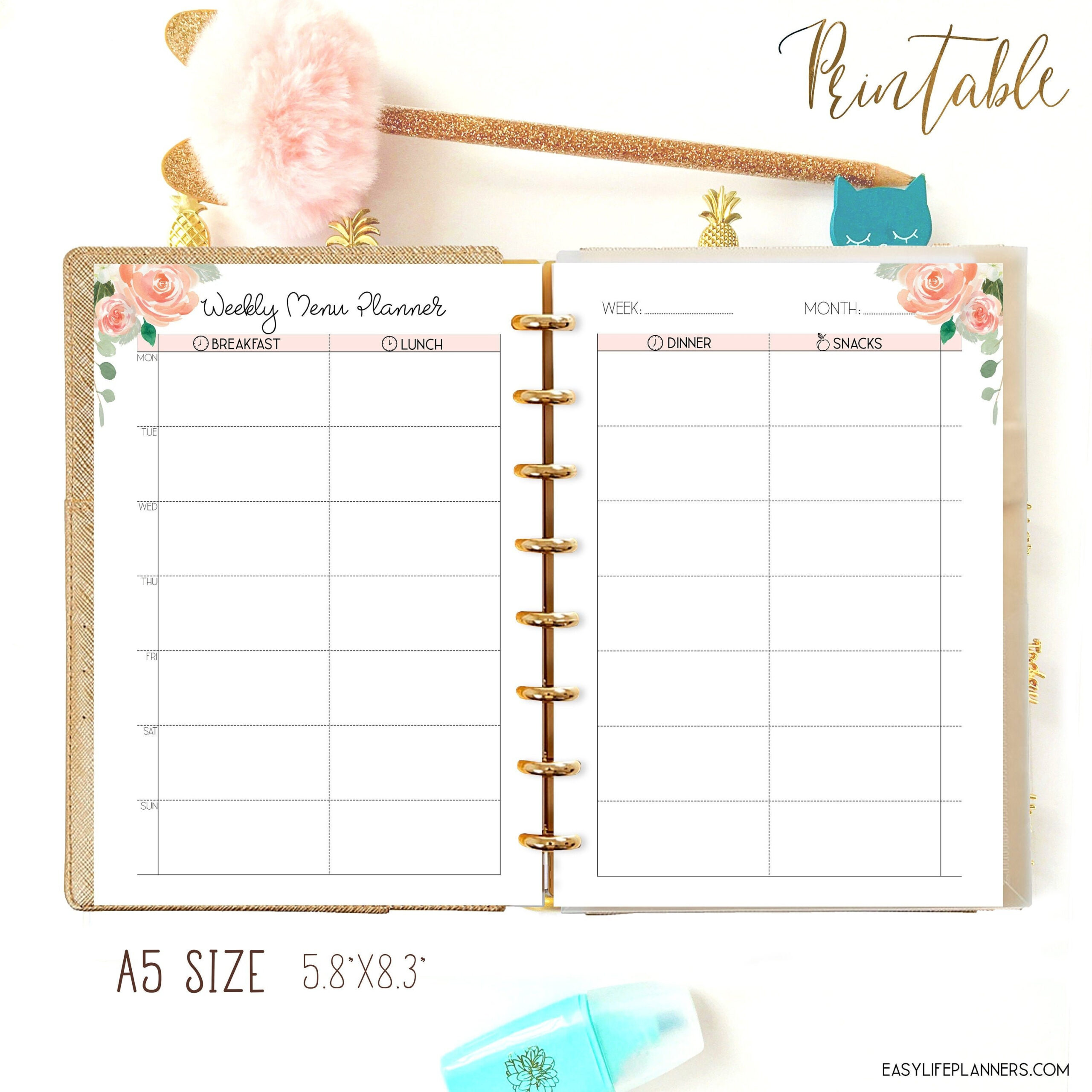 Menu Planner A5 Planner Inserts Weekly Meal Plan Printable inside Planner Insert Printables Book