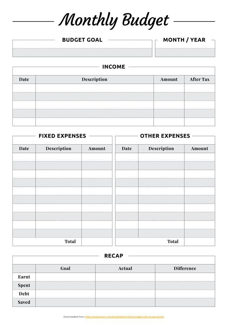 Monthly Budget Planner Template - Free Printable Pdf for Simple Budgeting Planner Insert Image