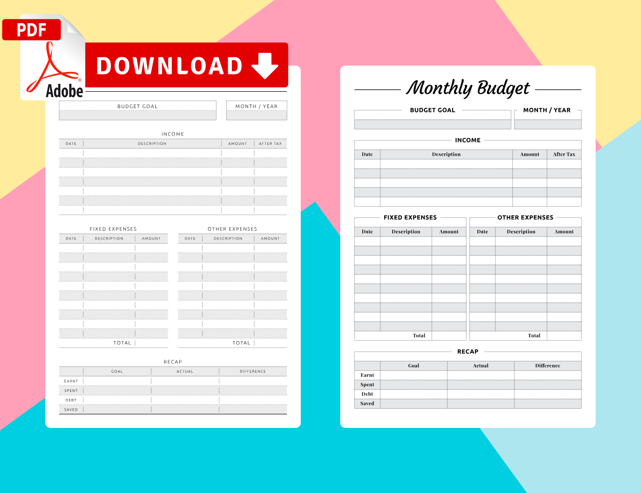 Monthly Budget Planner Templates - Download Pdf intended for Budget Planner Pdf Download Free Photo