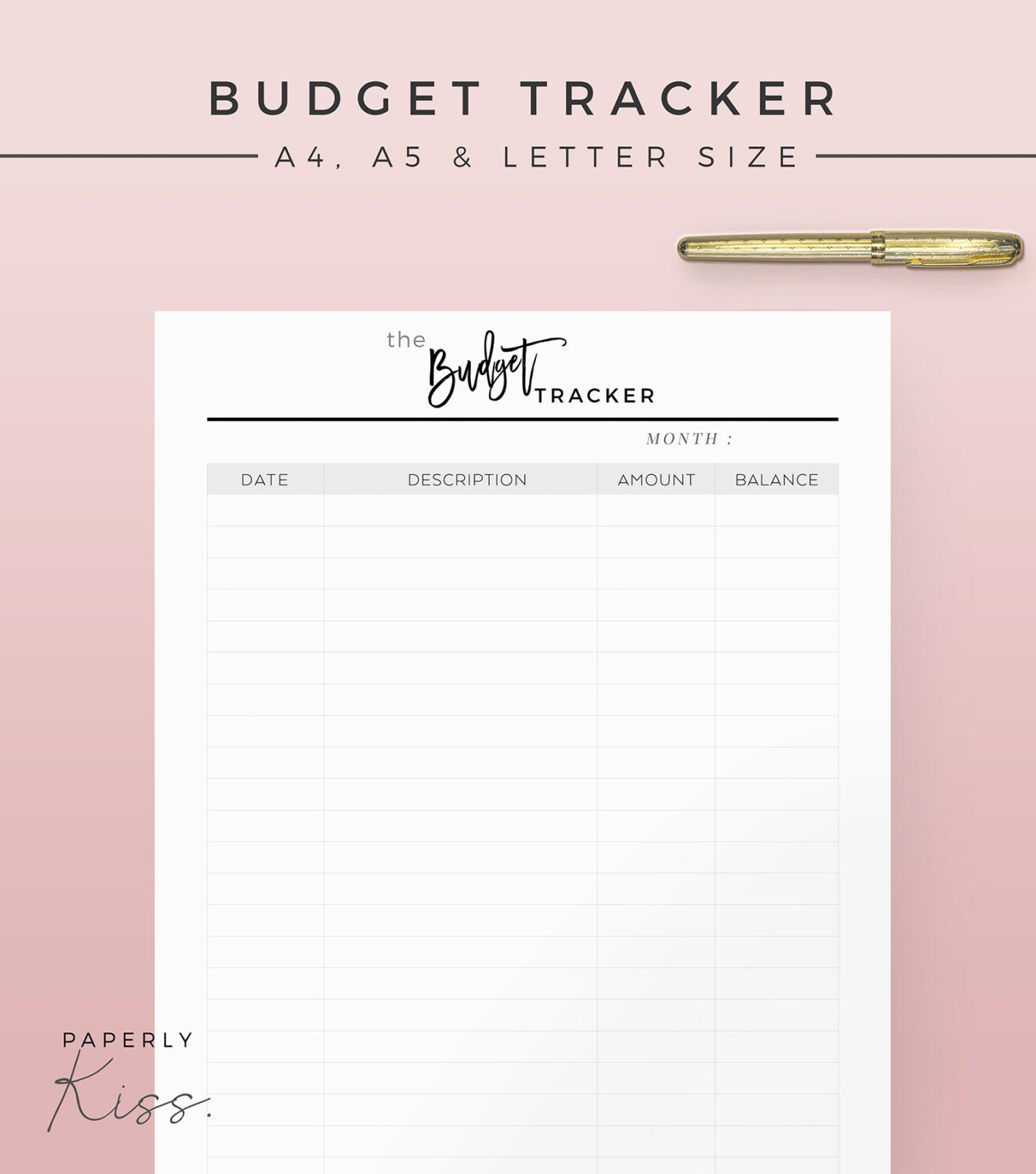 Monthly Budget Tracker Printable Planner Inserts A4 A5 inside Simple Budgeting Planner Insert
