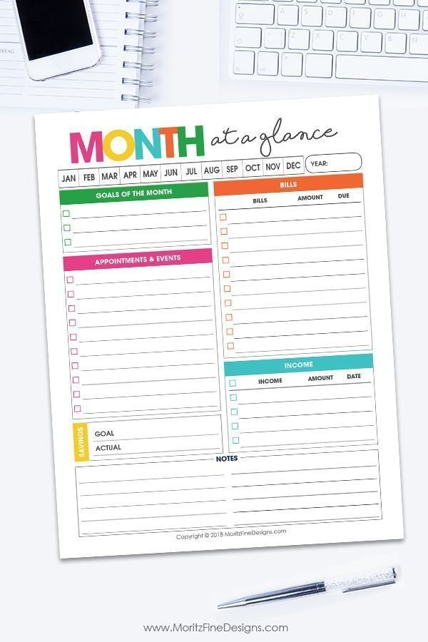 Monthly Overview Planner   Free Printable Calendar within Free Printable Month Banner Happy Planner