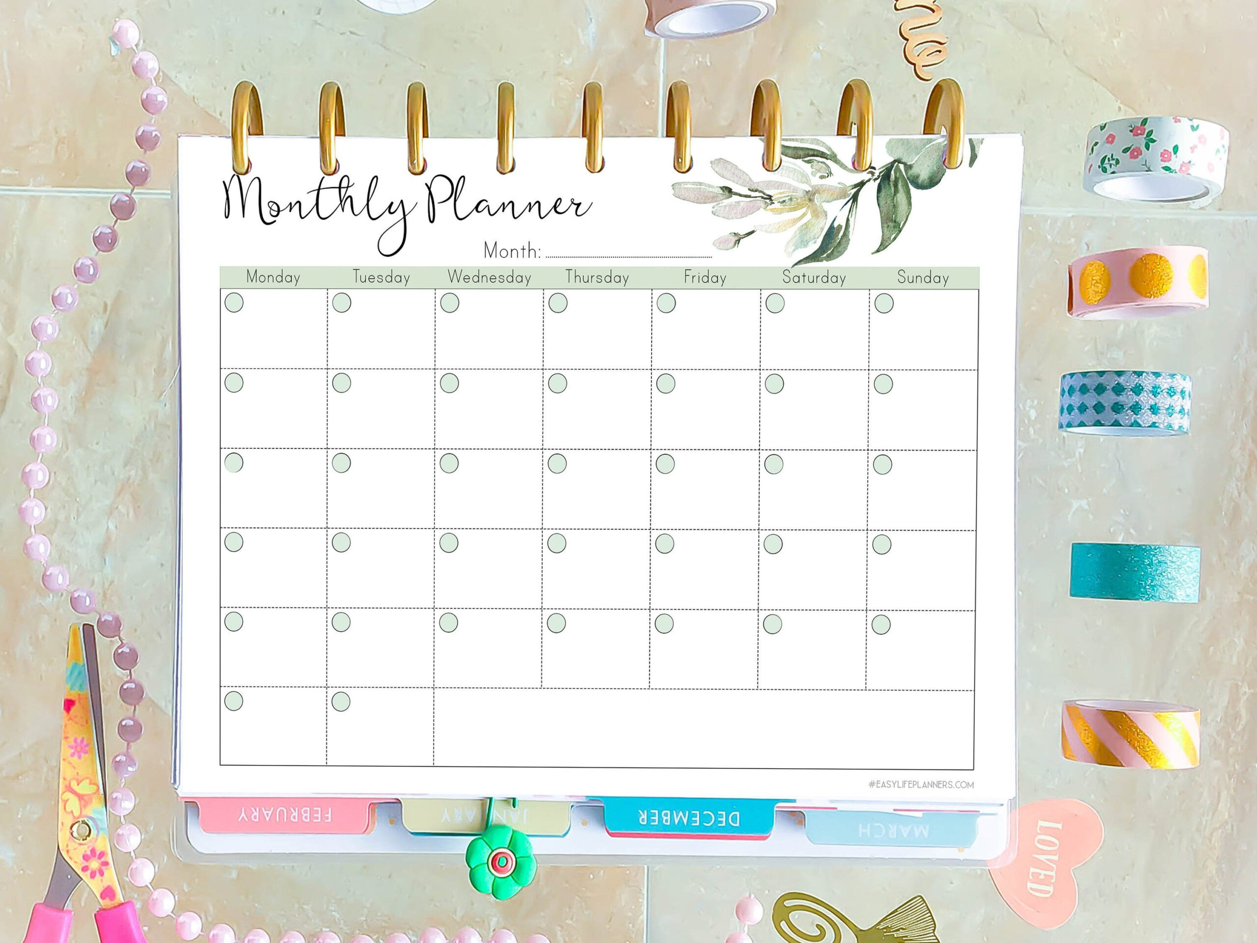 Monthly Planner Printable, Made To Fit Happy Planner intended for Free Happy Planner Monthly Printable Photo