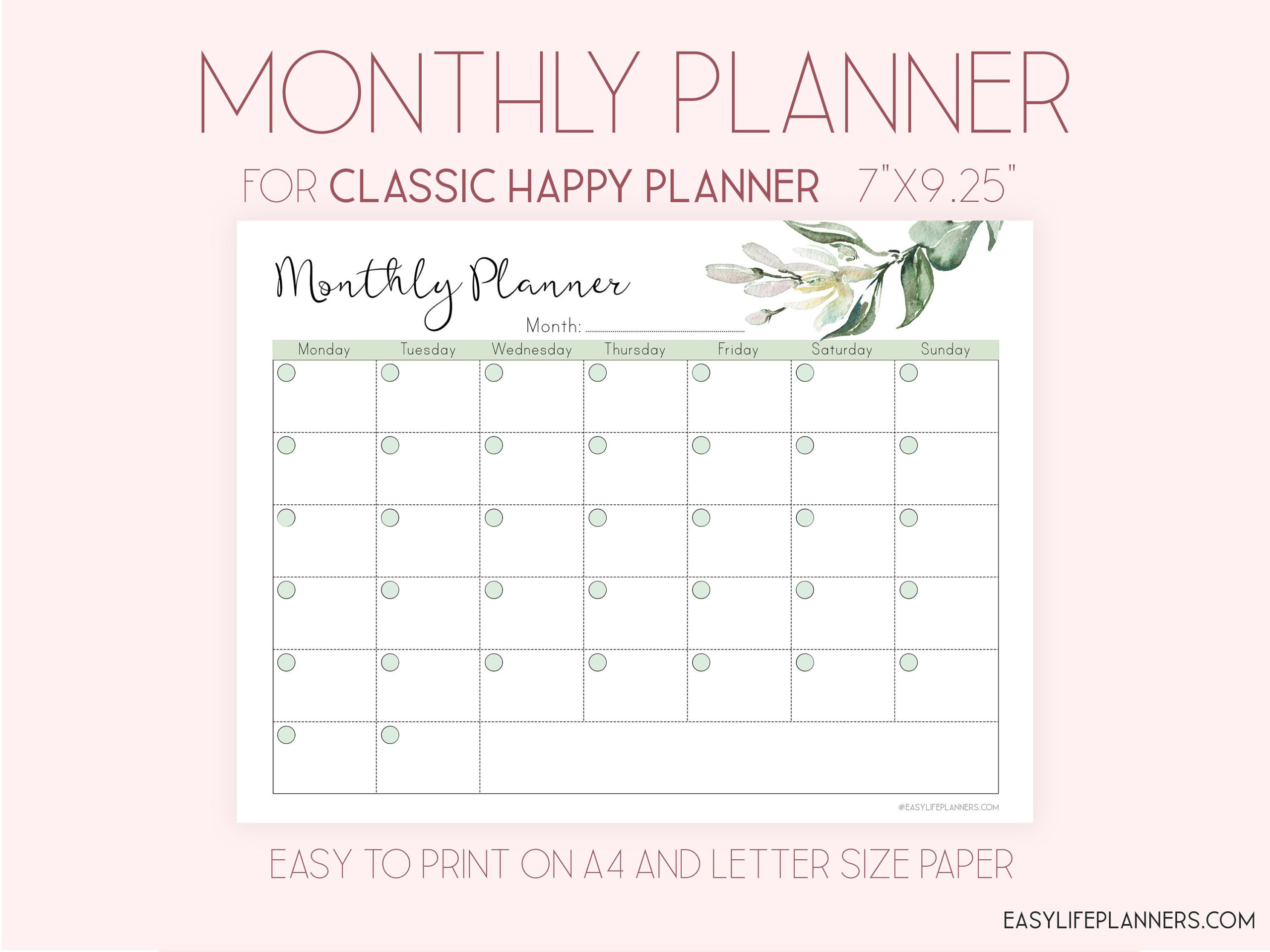 Monthly Planner Printable, Made To Fit Happy Planner with regard to Happy Planner Monthly Printable Image