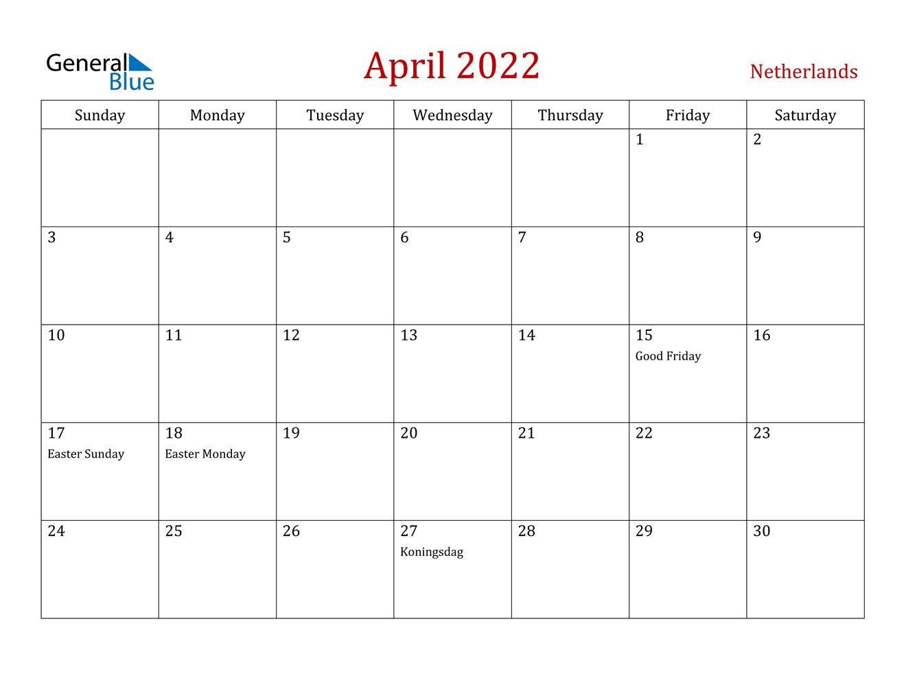 Netherlands April 2022 Calendar With Holidays regarding April May Calendar 2022 Pdf Photo
