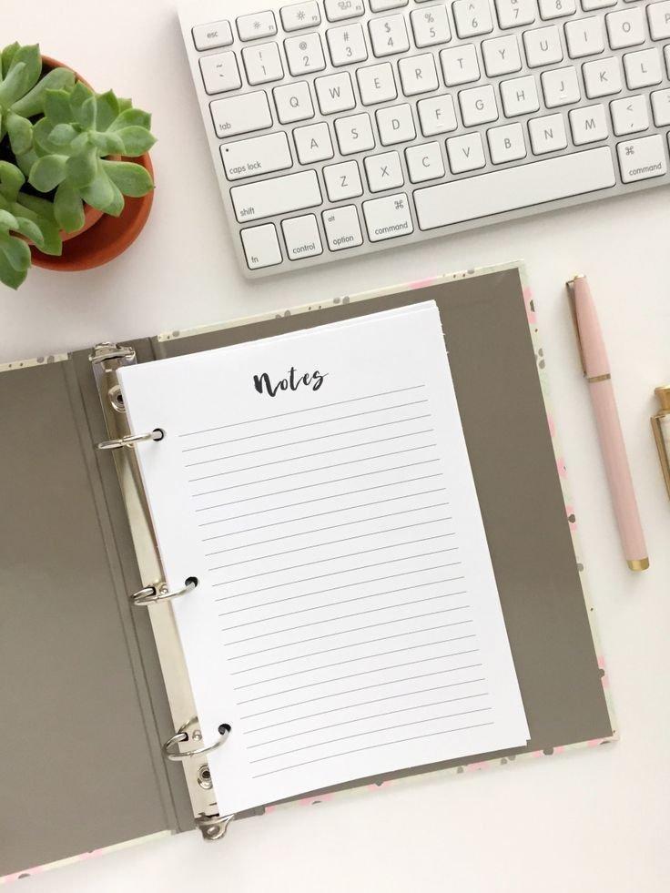 Notes Page: Free Printable Planner Insert - Pink Bows pertaining to Free Printable Planner Pages For Mini Binder