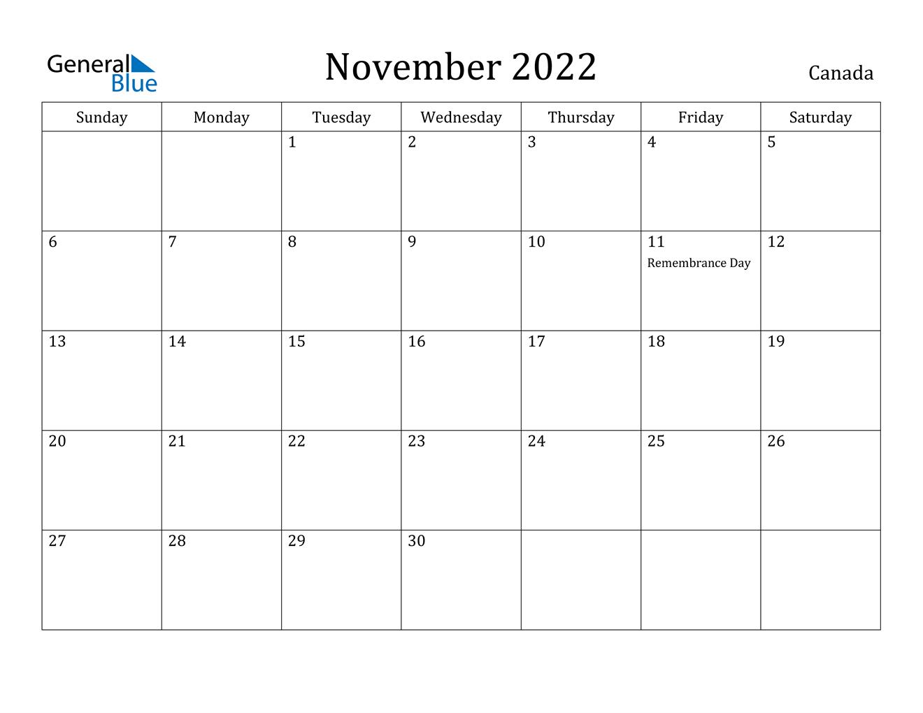 November 2022 Calendar - Canada for November 2022 Calendar Planner Printable Photo