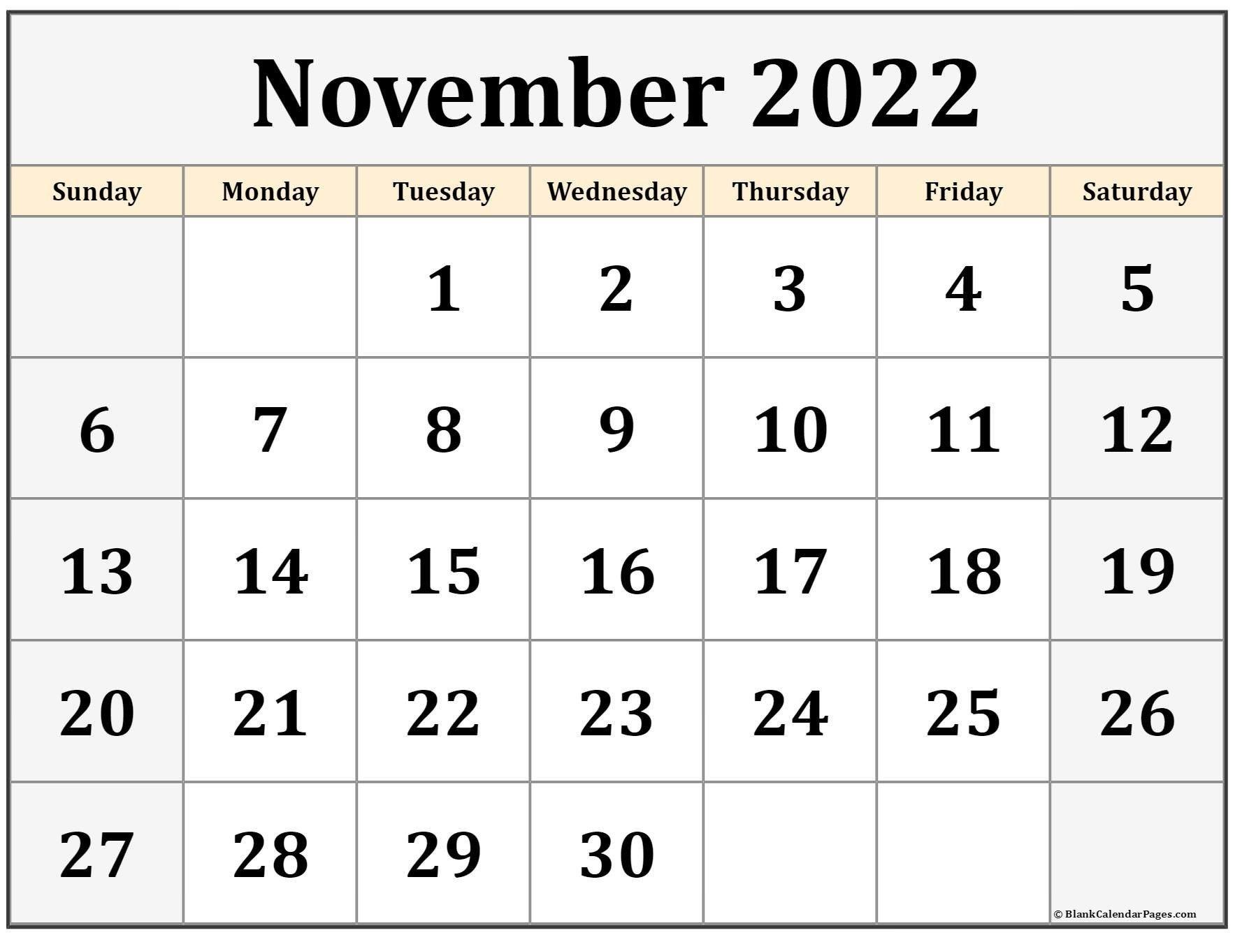 November 2022 Calendar Printable | Free Printable Calendar with regard to November 2022 Calendar Planner Printable