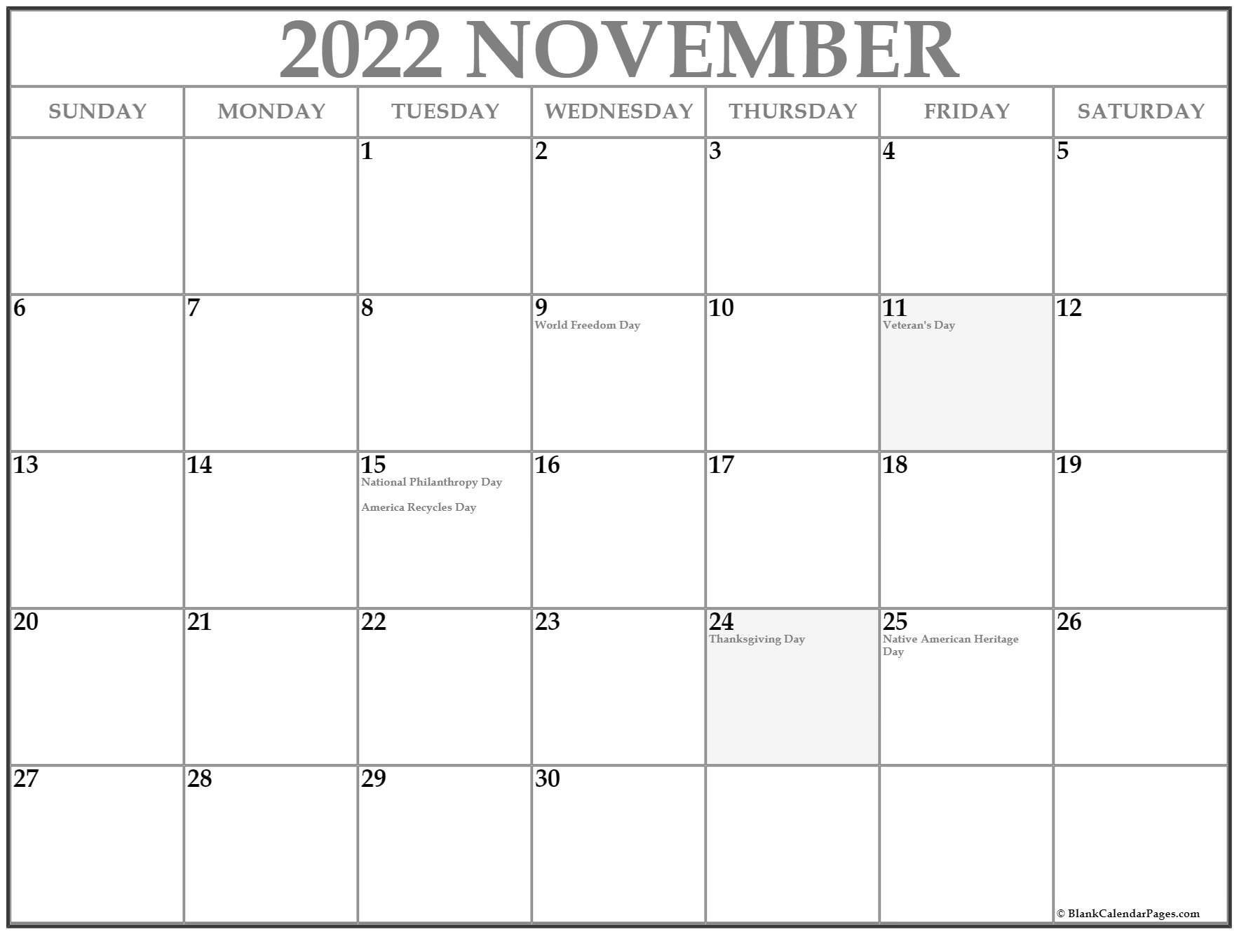 November 2022 Calendar With Holidays throughout November 2022 Calendar Planner Printable Photo