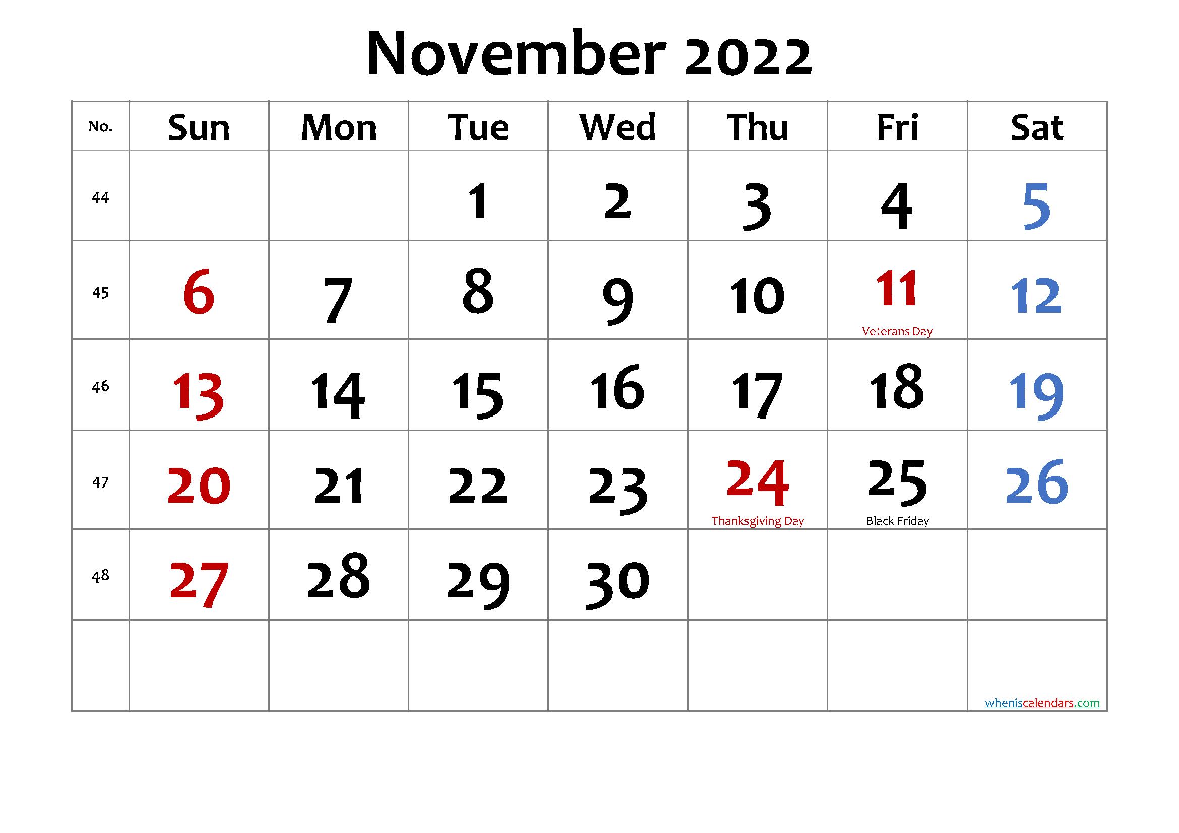 November 2022 Printable Calendar With Holidays pertaining to November 2022 Calendar Planner Printable Photo