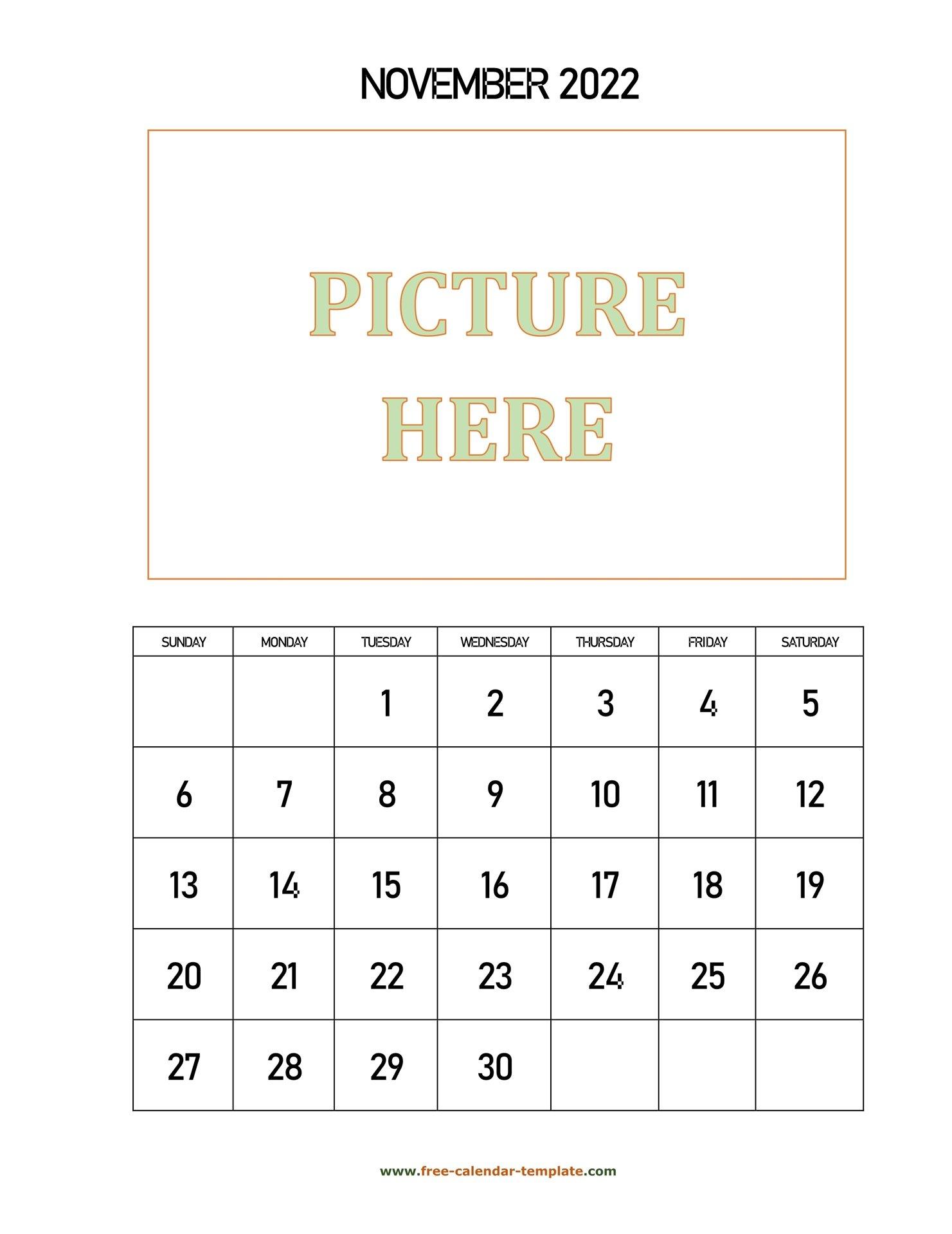 November Printable 2022 Calendar, Space For Add Picture inside November 2022 Calendar Planner Printable