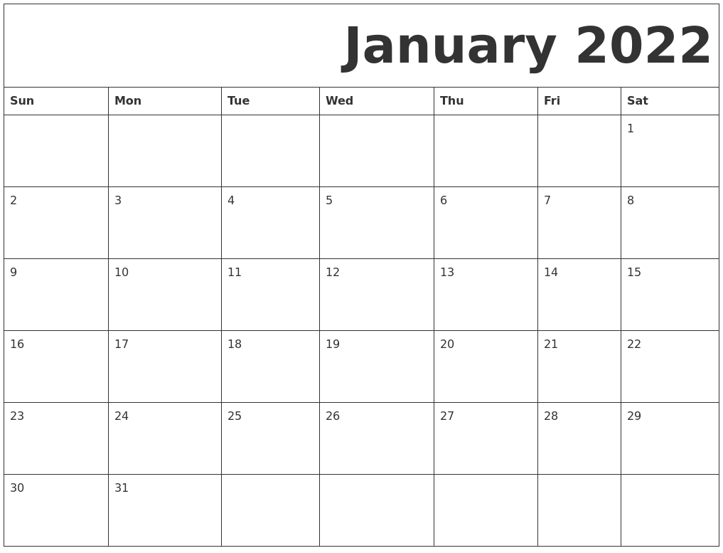 October 2021 Calendar regarding Free Printable Printable Pdf January 2022 Calendar Photo