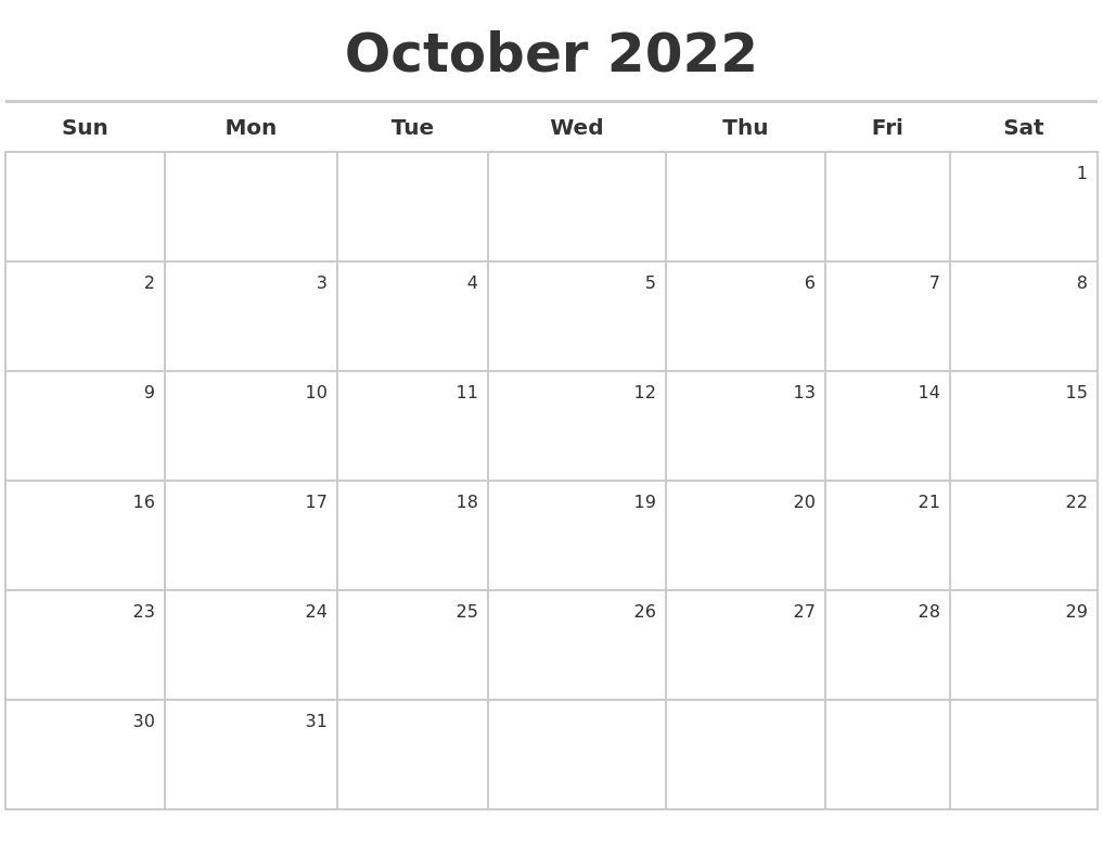 October 2022 Calendar Maker in October 2022 Planner Calendar Graphics