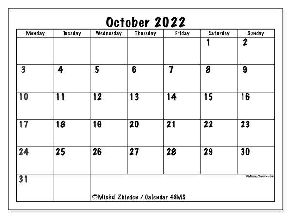 "October 2022 Calendars ""Monday - Sunday"" - Michel Zbinden En inside October 2022 Planner Calendar Graphics"