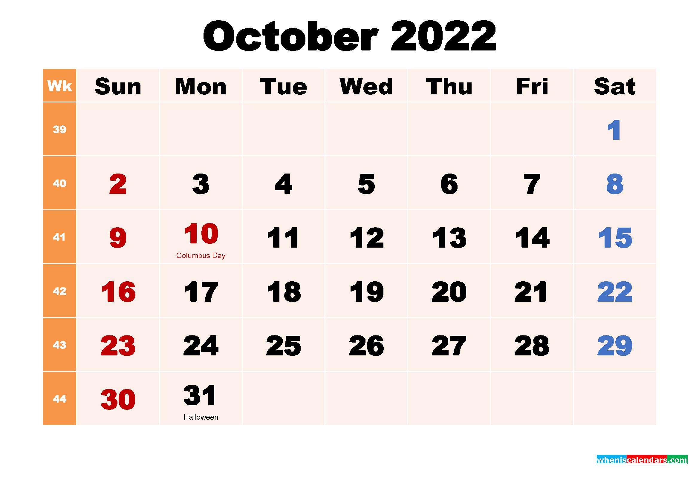 October 2022 Desktop Calendar With Holidays with regard to October 2022 Planner Calendar Graphics