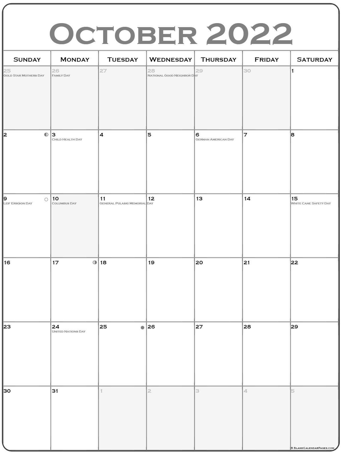 October 2022 Vertical Calendar   Portrait throughout October 2022 Planner Calendar Graphics