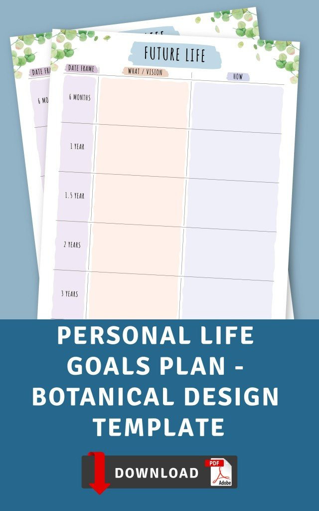 Personal Life Goals Plan - Botanical Design Template pertaining to Design Your Life Planner Pdf