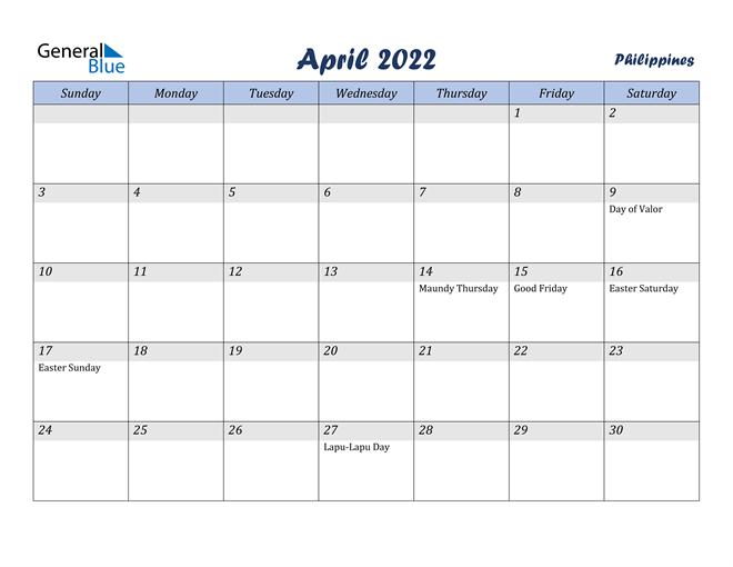Philippines April 2022 Calendar With Holidays inside Calendar 2022 April Print Now