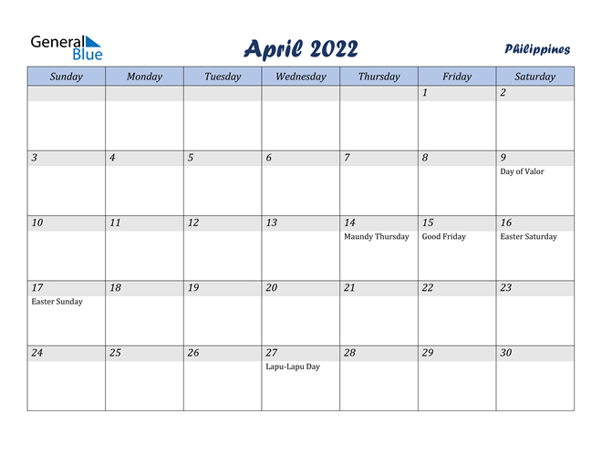 Philippines April 2022 Calendar With Holidays with April May 2022 Printable Calendar Image