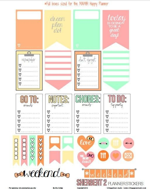 Pin On Happy Planner Printables inside Free Happy Planner Stickers Printable