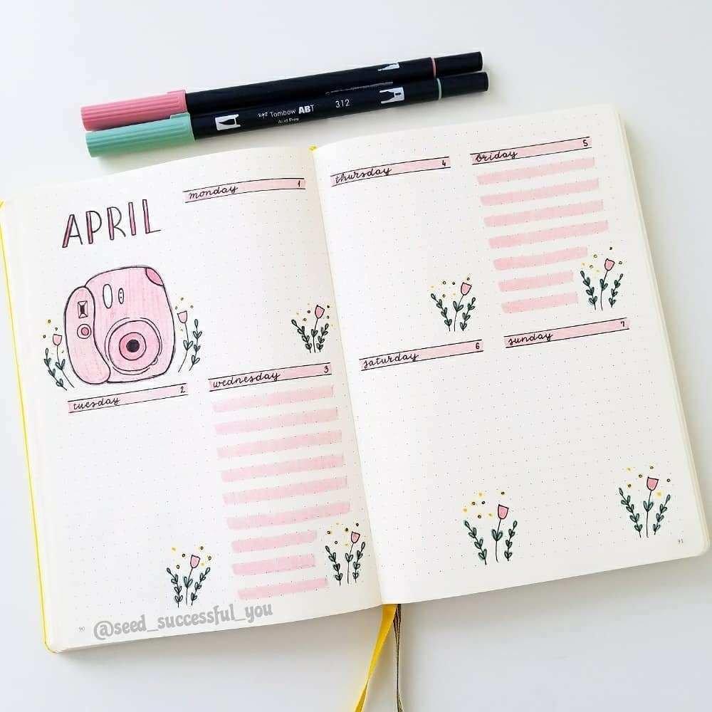 Plan With Me: My April 2019 Bullet Journal Setup   April in April Bullet Journal Spread Ideas Graphics