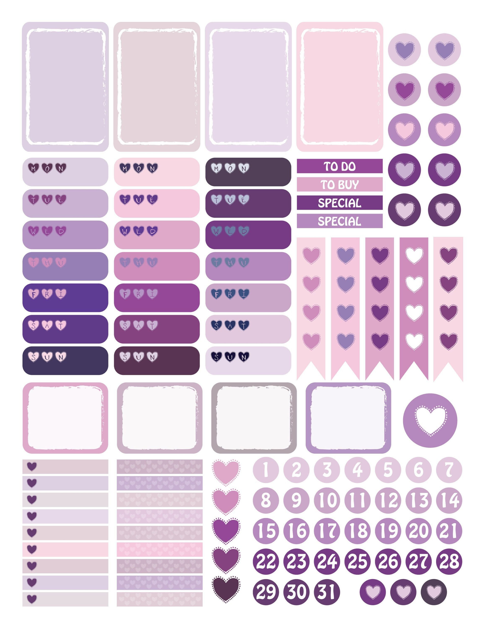 Planner Printable, Hearts Stickers, Happy Planner Stickers intended for Free Happy Planner Stickers Printable Graphics
