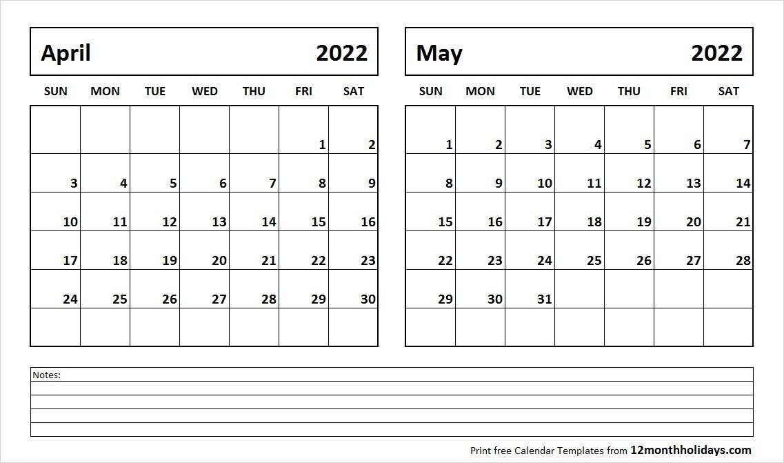 Print April May 2022 Calendar Template   2 Month Calendar for Printable Calendar Month May 2022
