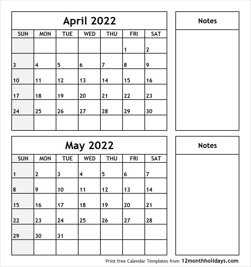 Print April May 2022 Calendar Template   2 Month Calendar pertaining to Printable Calendar Month May 2022 Graphics