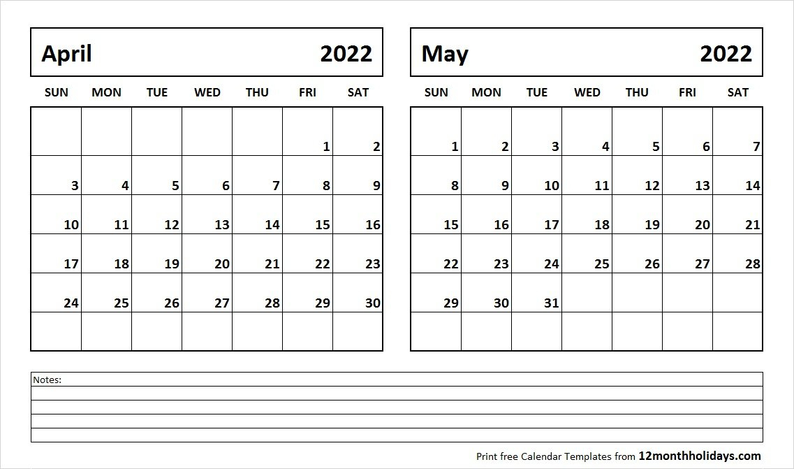 Print April May 2022 Calendar Template | 2 Month Calendar with May 2022 Calendar Template
