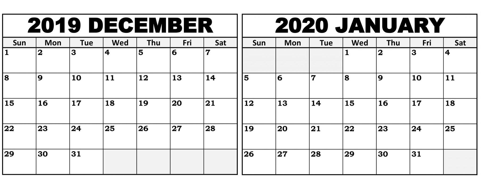 Print Calendar December 2020 And January 2020   Calendar within Free Printable December January Calendar Graphics