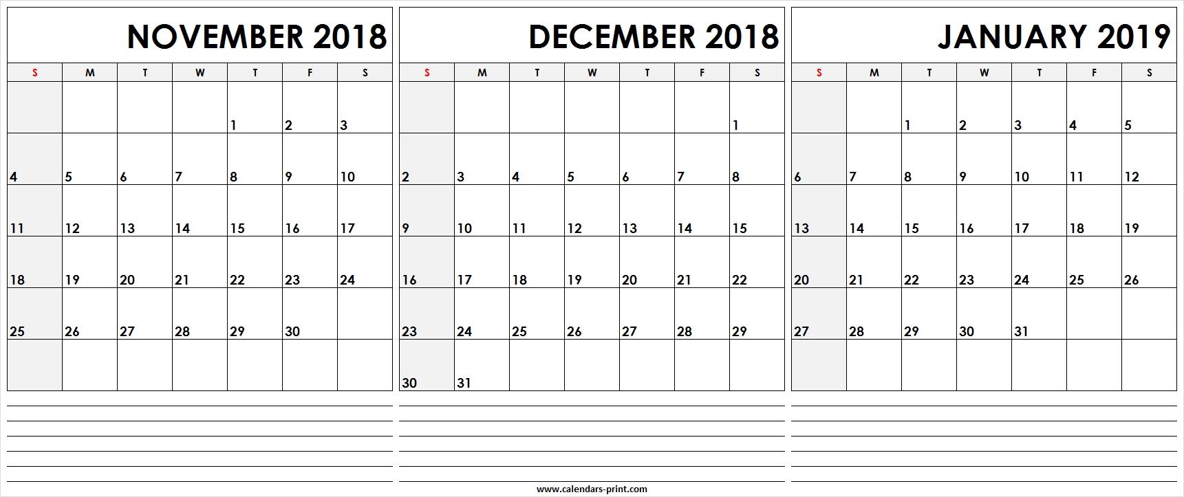 Print Calendar November December January   Calendar throughout Free Printable December January Calendar
