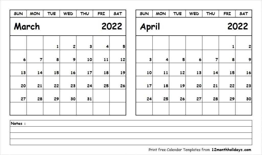 Print March April 2022 Calendar Template | 2 Month Calendar for March April 2022 Printable Calendar