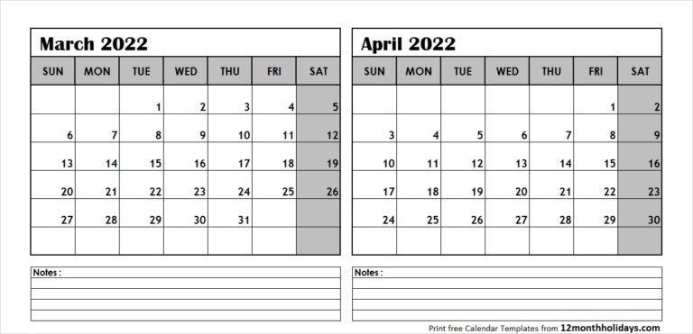 Print March April 2022 Calendar Template   2 Month Calendar with regard to March April May 2022 Calendar Printable Graphics