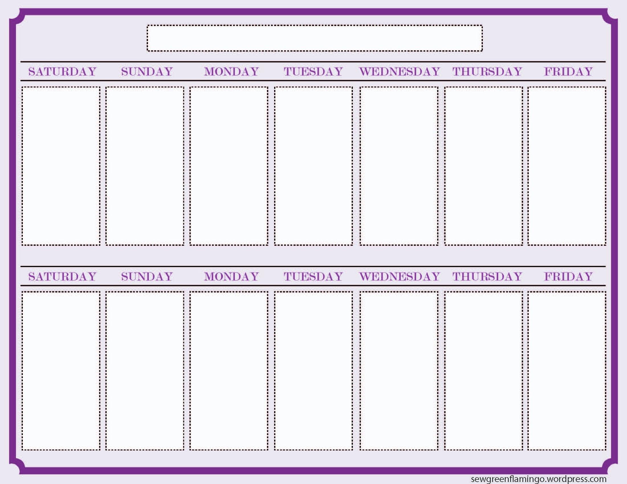 Printable 2 Week Calendar Two Week Calendar Template - Free Printable Calendar Monthly | Free intended for Free Weekly Planner Template