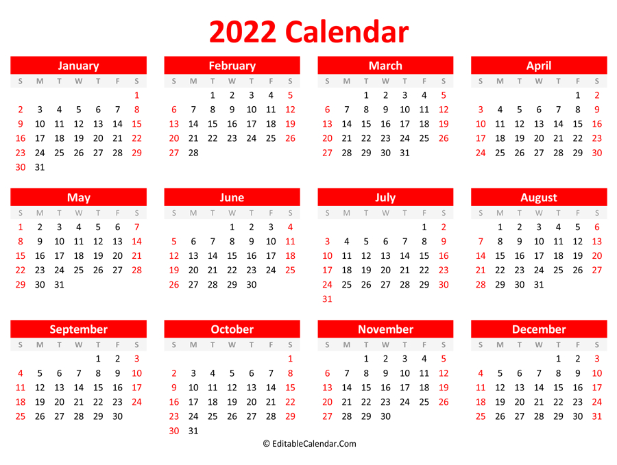 Printable 2022 Calendar (Landscape Orientation) throughout Free Printable 2022 Planner Image