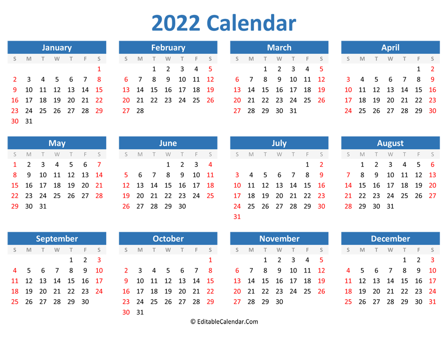 Printable 2022 Calendar (Landscape Orientation) with regard to Print July 2022 Ckander Photo
