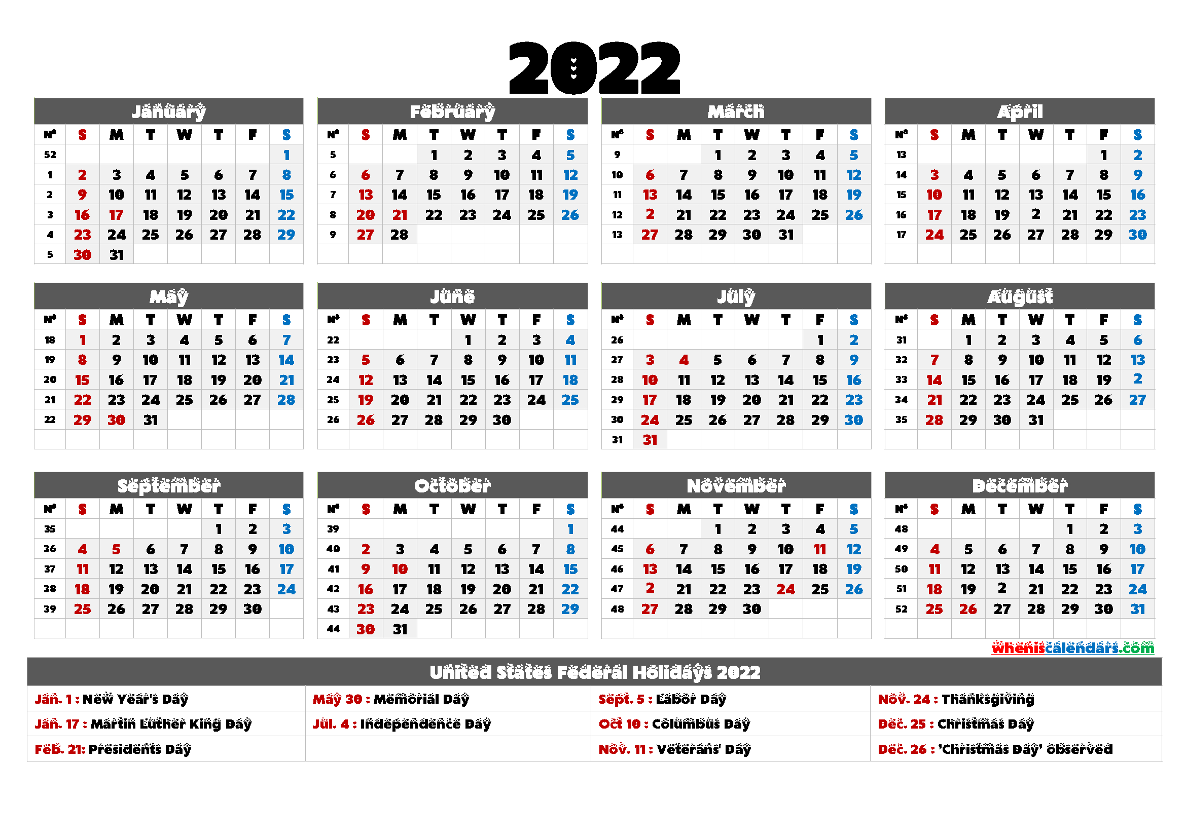 Printable 2022 Calendar One Page - 9 Templates - Free for Free Printable 2022 Planner Image