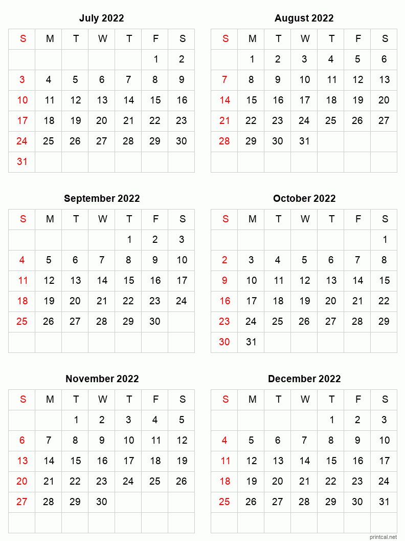 Printable 2022 Calendar - Six Months Per Page   Free pertaining to January 2022 Free Month At A Glance Planner.pdf Photo
