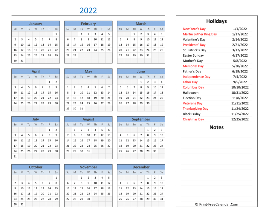 Printable 2022 Calendar With Holidays And Notes in Free Printable 2022 Planner