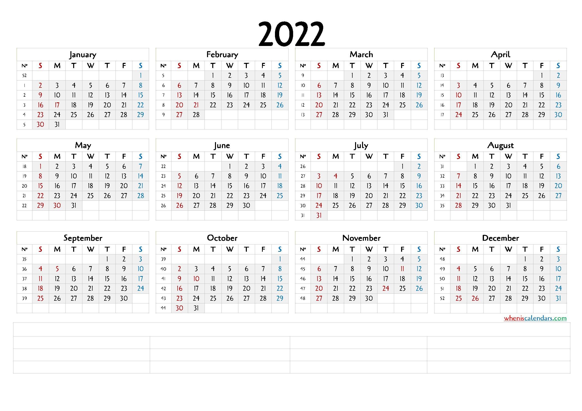 Printable 2022 Calendar With Week Numbers (6 Templates regarding Free Printable 2022 September Calendar