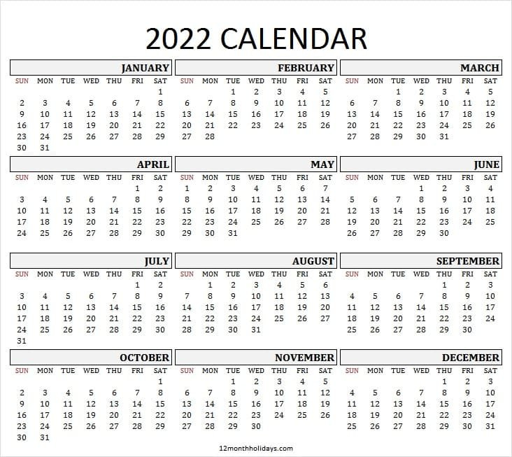Printable 2022 Yearly Calendar Template | Jan To Dec 2022 pertaining to Yearly Planner 2022 Printable Free